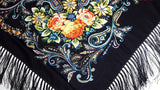 Traditional Polish Folk Shawl with Fringes - Exclusive Russian Collection - Black - Taste of Poland  - 2