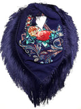 Traditional Polish Folk Shawl with Fringes - Exclusive Russian Collection - Navy - Taste of Poland  - 1