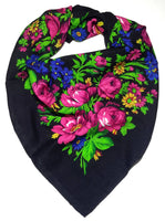 Traditional Polish Folk Head Scarf - Classy Floral Collection - Black - Taste of Poland  - 1