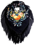 Traditional Polish Folk Shawl with Fringes - Exclusive Russian Collection - Black - Taste of Poland  - 1