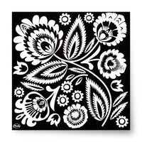 Polish Folk Art Black & White Luncheon Napkins, Set of 20 - Taste of Poland  - 1