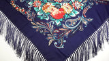 Traditional Polish Folk Shawl with Fringes - Exclusive Russian Collection - Navy - Taste of Poland  - 2
