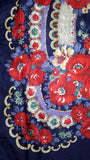 Traditional Polish Ukrainian Folk Shawl with Fringes - Navy - Taste of Poland  - 2