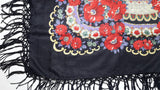 Traditional Polish Ukrainian Folk Shawl with Fringes - Black - Taste of Poland  - 3