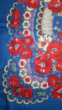 Traditional Polish Ukrainian Folk Shawl with Fringes - Blue - Taste of Poland  - 2