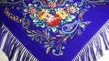 Traditional Polish Folk Shawl with Fringes - Exclusive Russian Collection - Blue - Taste of Poland  - 2