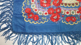 Traditional Polish Ukrainian Folk Shawl with Fringes - Blue - Taste of Poland  - 3
