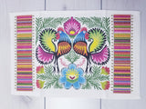 Polish Lowicz Roosters Folk Art Kitchen Hand Towel