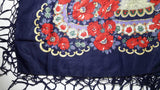 Traditional Polish Ukrainian Folk Shawl with Fringes - Navy - Taste of Poland  - 3