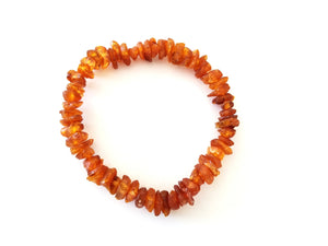 Raw Baltic Amber Bracelet on Elastic Band (Cognac)