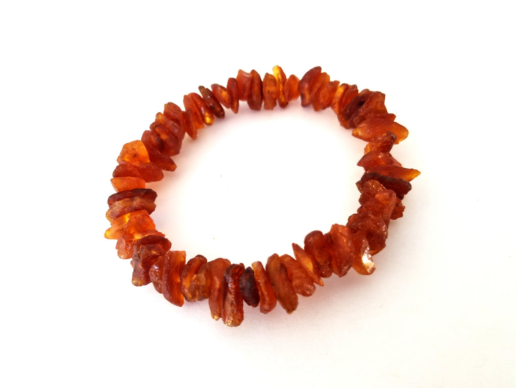 Raw Baltic Amber Bracelet on Elastic Band (Dark Cognac)