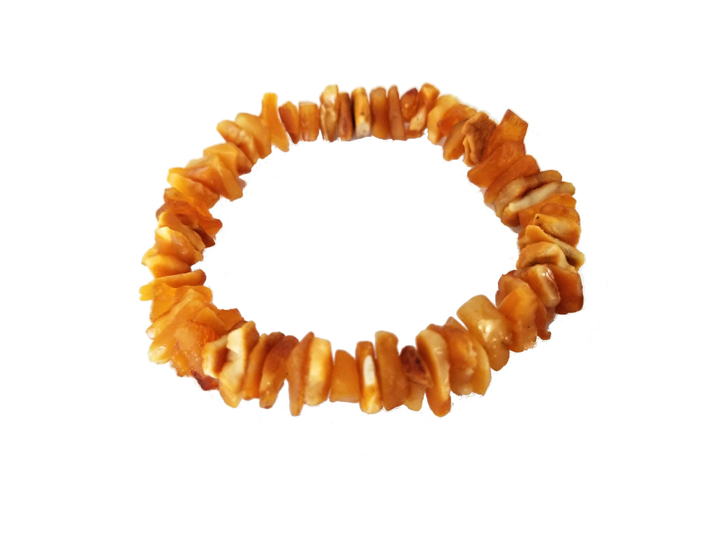 Raw Baltic Amber Bracelet on Elastic Band (Butterscotch)