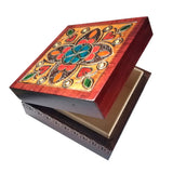 "Polish Square Wooden Box with Intricate Pattern, 4.75""x 4.75"" (Brown Clover and Hearts)"