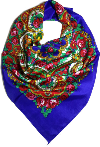 Traditional Paisley Folk Head Scarf - Blue - Taste of Poland  - 1