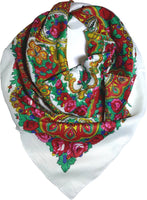 Traditional Paisley Folk Head Scarf - White - Taste of Poland  - 1