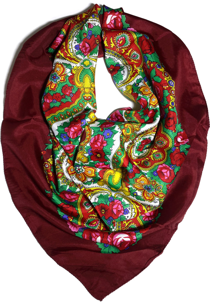 Traditional Paisley Folk Head Scarf - Burgundy - Taste of Poland  - 1