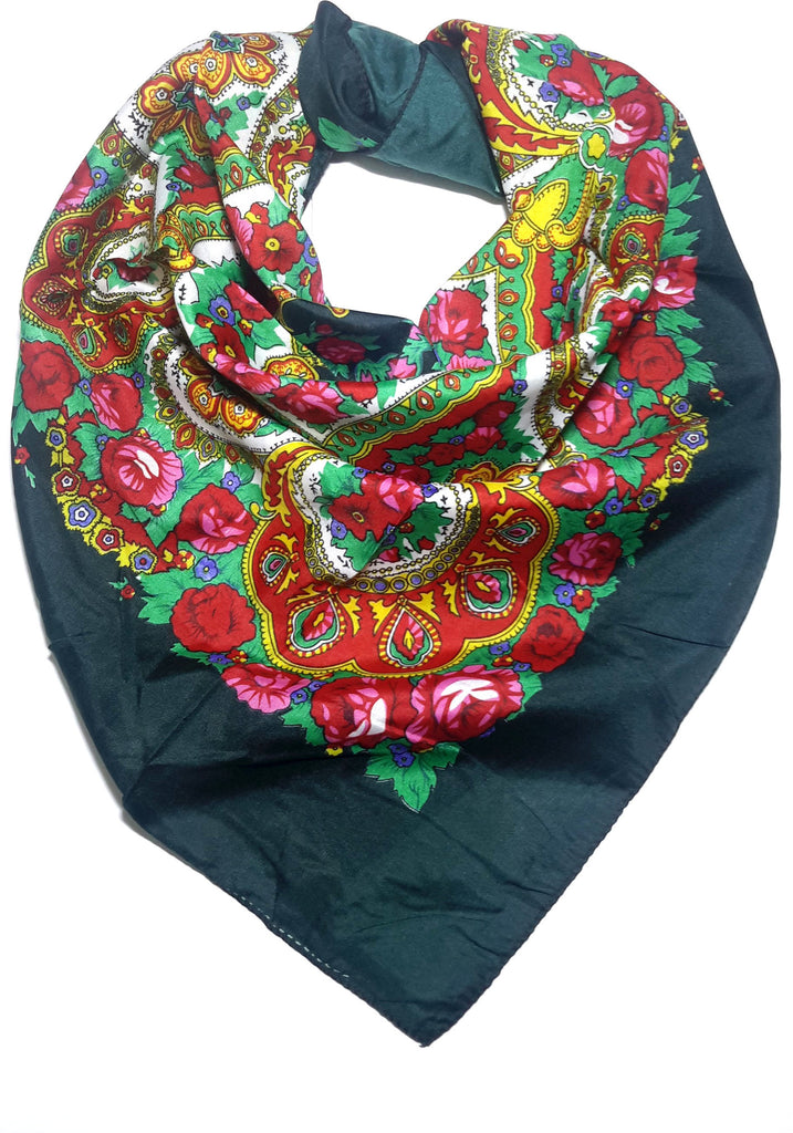 Traditional Paisley Folk Head Scarf - Green - Taste of Poland  - 1