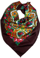 Traditional Paisley Folk Head Scarf - Brown - Taste of Poland  - 1
