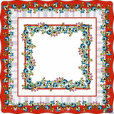 "Polish Red Folk Art Table Square Linen Topper 30"" x 30"""