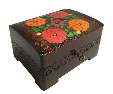 "Polish Floral Wooden Box with Brass Inlays and Key, 7""x 5.5"""