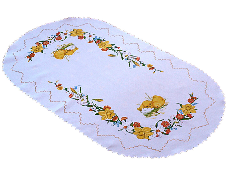 Polish Traditional Easter Chicks Oval Table Runner