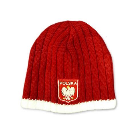 Knitted Polska Winter Hat with Eagle Emblem - Taste of Poland  - 1