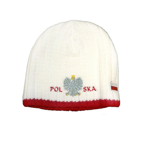 Knitted Polska Winter Hat with White Eagle & Flag - Taste of Poland  - 1
