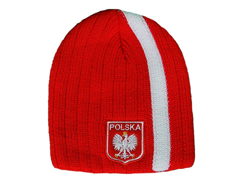Knitted Polska Stripe Winter Hat with Polish Eagle Emblem - Red