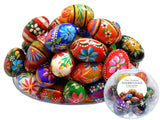 Polish Easter Handpainted Wooden Eggs (Pisanki), Set of 7 in Protective Box