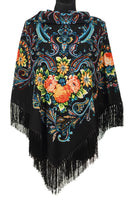 Traditional Polish Folk Shawl with Fringes - Exclusive Russian Collection - Black