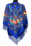 Traditional Polish Folk Shawl with Fringes - Exclusive Russian Collection - Blue