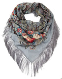Traditional Polish Folk Shawl with Fringes - Exclusive Russian Collection - Grey