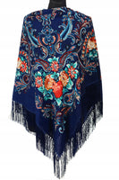 Traditional Polish Folk Shawl with Fringes - Exclusive Russian Collection - Navy