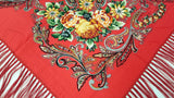 Traditional Polish Folk Shawl with Fringes - Exclusive Russian Collection - Red