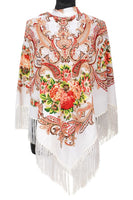 Traditional Polish Folk Shawl with Fringes - Exclusive Russian Collection - White