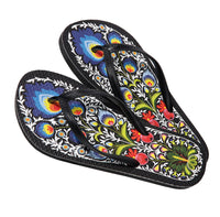Polish Folk Art Flowers Black Flip-Flops