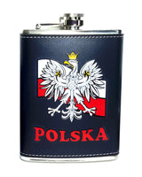 Black Polska Poland Eagle on Flag Flask 8oz
