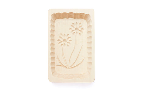Large Traditional Polish Daisy Flowers Wooden Butter Mold