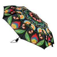 Polish Folk Art Foldable Umbrella - Lowicz Black
