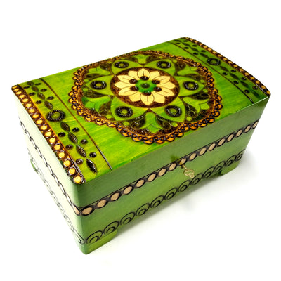 XXL Polish Folk Floral Wooden Box with Brass Inlays, Compartments and Key, 10.5