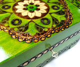 "XXL Polish Folk Floral Wooden Box with Brass Inlays, Compartments and Key, 10.5""x 6.75"""