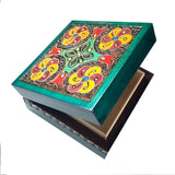 "Polish Square Wooden Box with Intricate Pattern, 4.75""x 4.75"" (Green Floral Cross)"