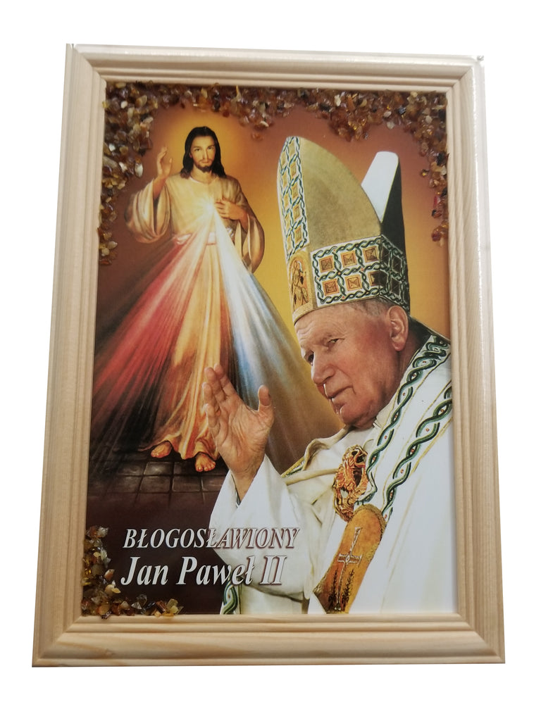 Large John Paul II Framed Portrait Art Picture with Amber
