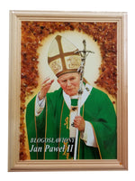 Medium John Paul II Framed Portrait Art Picture with Amber