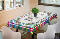 Polish Colorful Rooster Folk Art Table Linen Topper Tablecloth 59