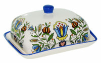 Polish Kashubian Folk Art Ceramic Butter Dish