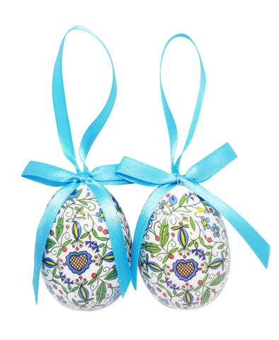 Polish Kashubian Folk Art Hanging Egg Ornaments, Set of 2