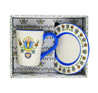 Polish Kashubian Folk Art Ceramic Mug and Dish Set in Box