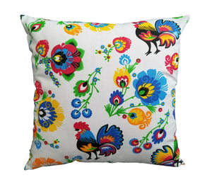 Polish Lowicz Roosters Folk Art Accent Pillow Case