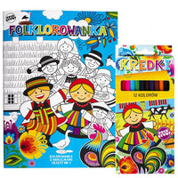 Polish Folk Art Coloring Book with Stickers and 12 Colored Pencils